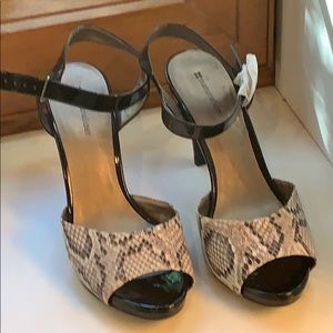 Women's Black/Snakeskin Patent Leather Heels